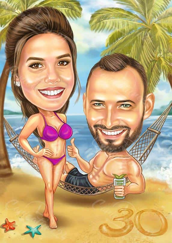 30th Birthday Beach Caricature for a Couple