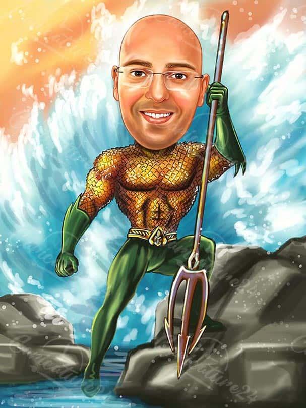 Aquaman Caricature for Superhero