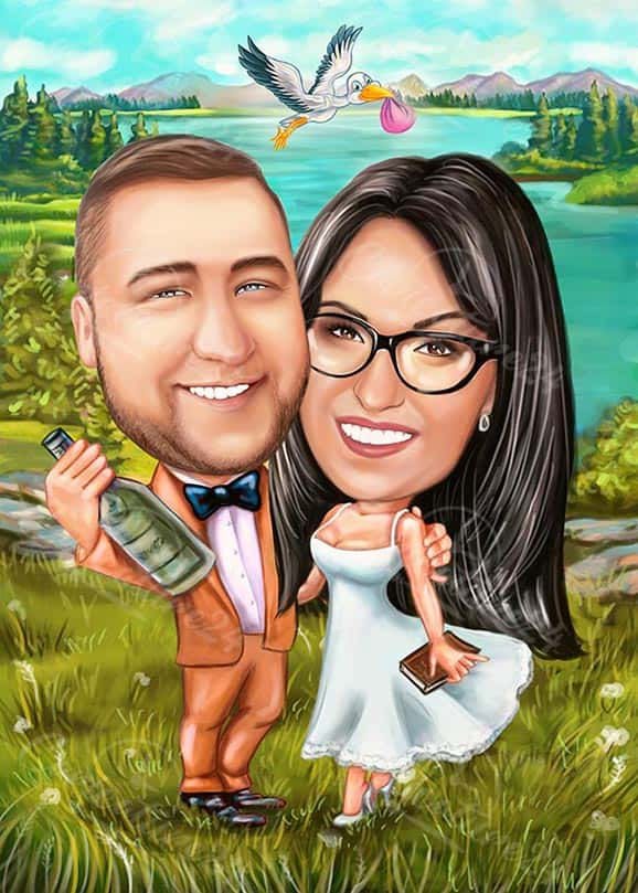 Baby on the Way Wedding Caricature