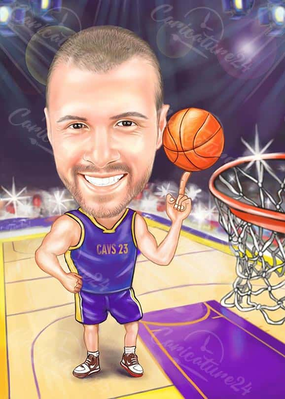 Basketball Caricature Score a Point