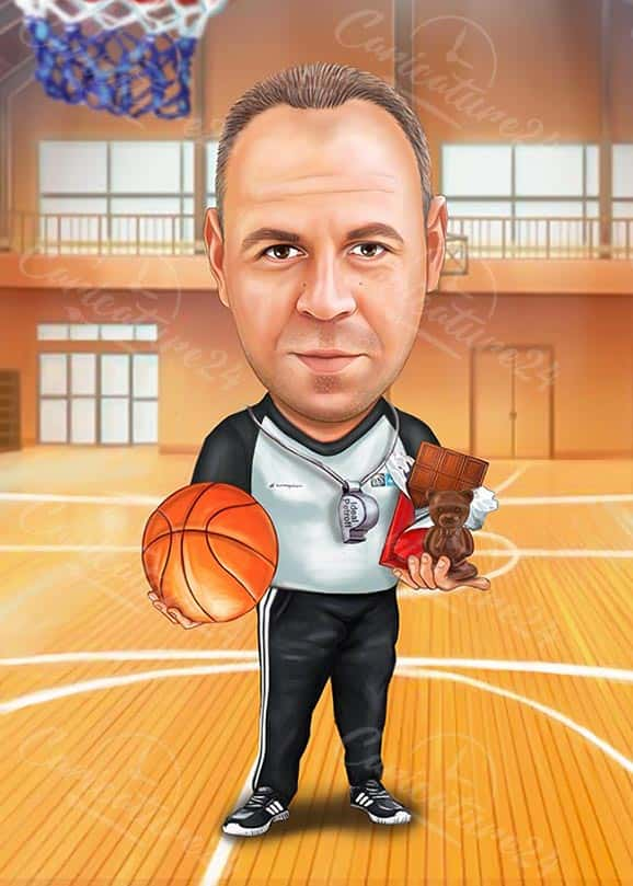 Basketball Coach Caricature