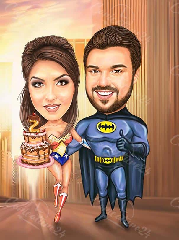 Batman Caricature with Birthday Girl