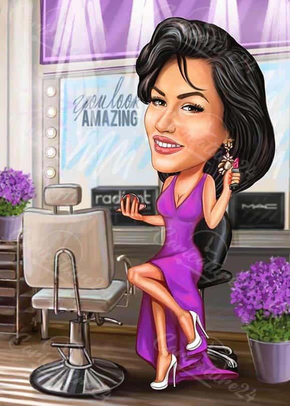 Beauty Career Woman Cartoon Drawing
