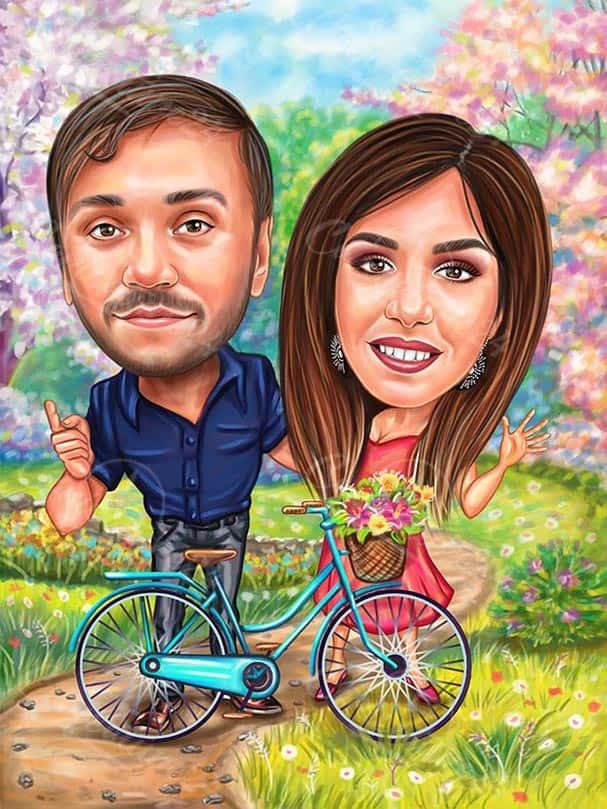 Biker Couple Caricature Gift