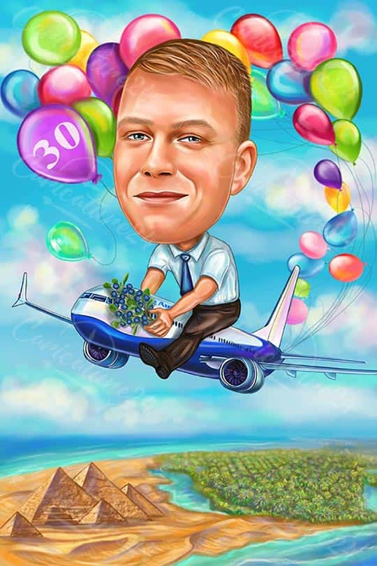 Birthday Caricature for a Pilot