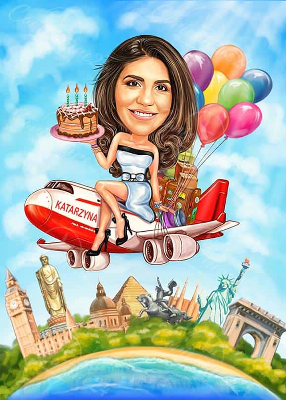 Birthday Caricature Girl on a Plane