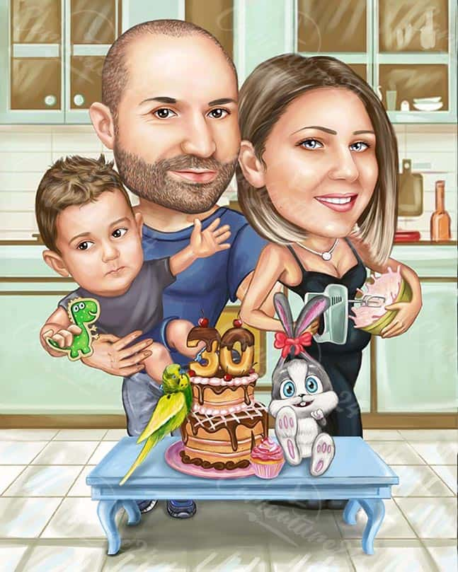 Birthday Gift Idea - Caricature for the Family