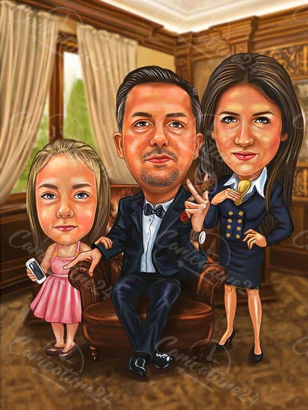 Boss Caricature with Wife and Daughter