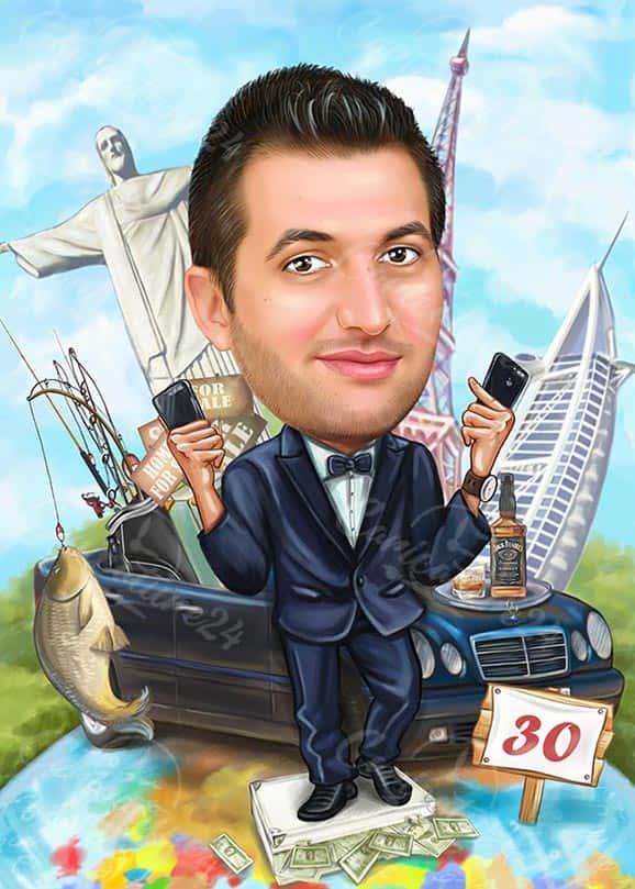 Boss Fisherman Caricature