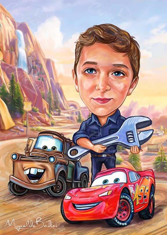Boy with Car Custom Caricature
