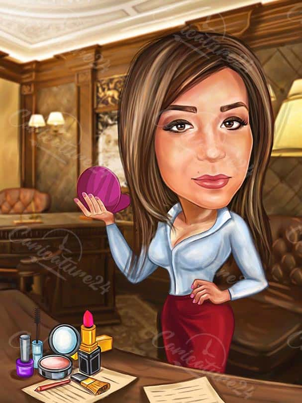 Business Woman Caricature Drawing