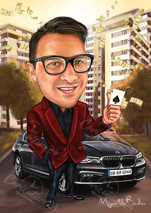 Businessman Caricature Drawing with Car