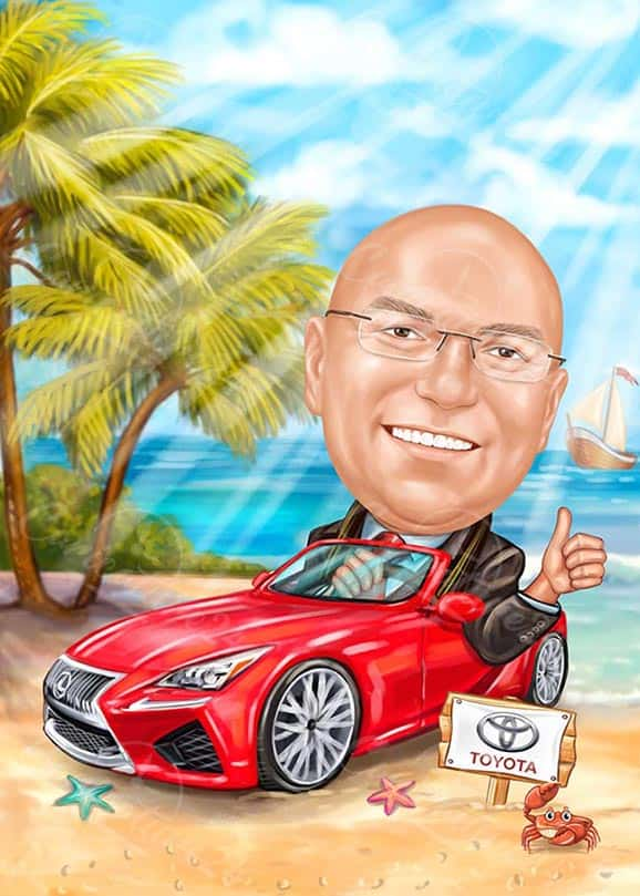 Businessman Caricature with Red Car