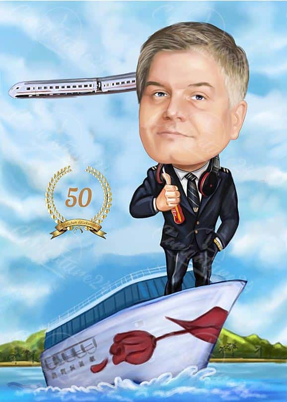 Captain Caricature for 50th Birthday
