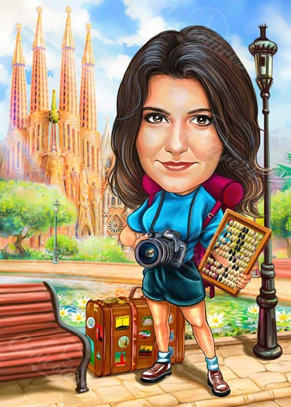 Career Woman Photographer Caricature