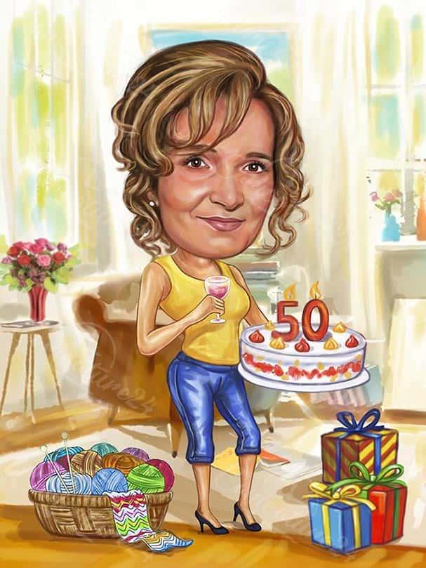 Caricature 50th Birthday Gift Idea