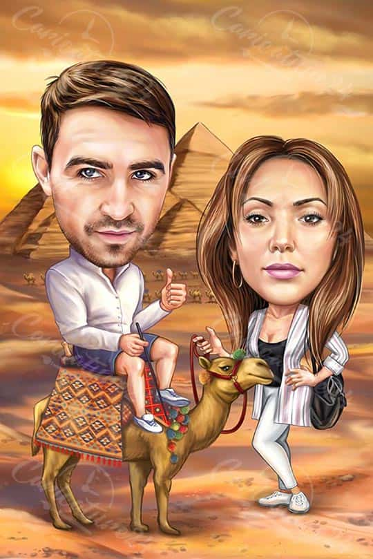 Caricature Couple in Egypt