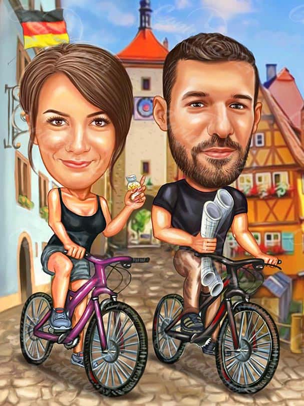Caricature Drawing for Couple with Bicycles