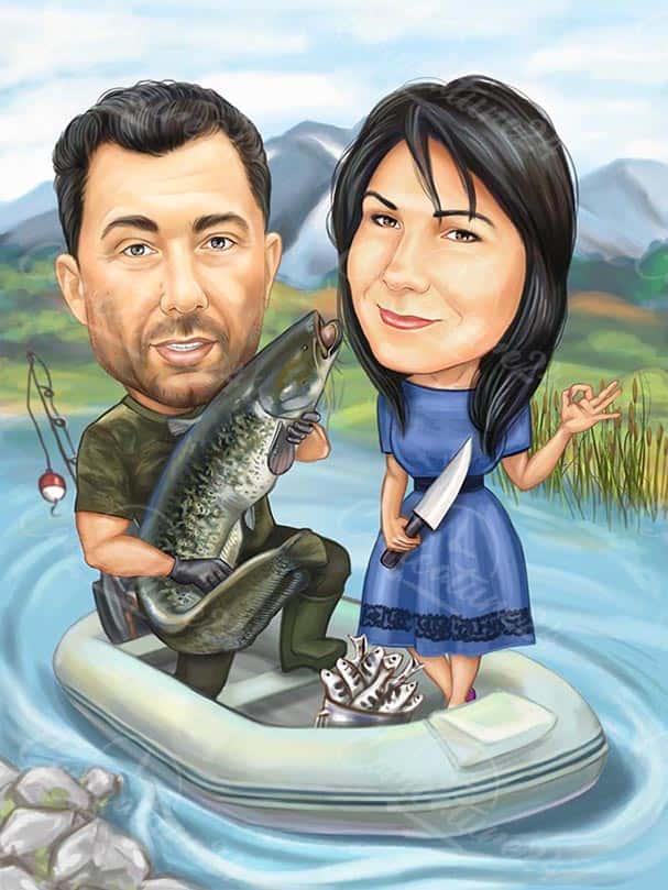 Caricature Fishermen in a Boat