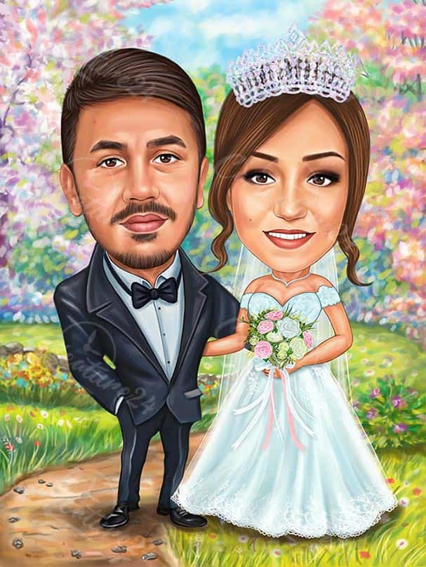 Caricature for Wedding in Nature
