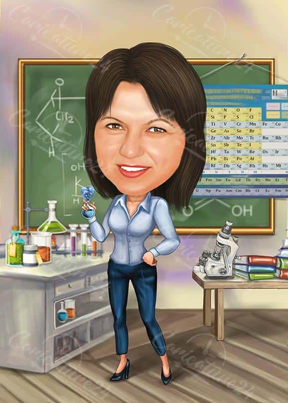 Chemistry Scientist Caricature for a Woman