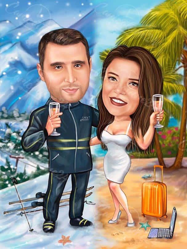 Christmas Caricature Summer & Winter