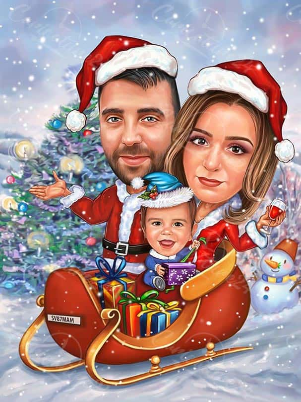 Christmas Caricature with a Kid