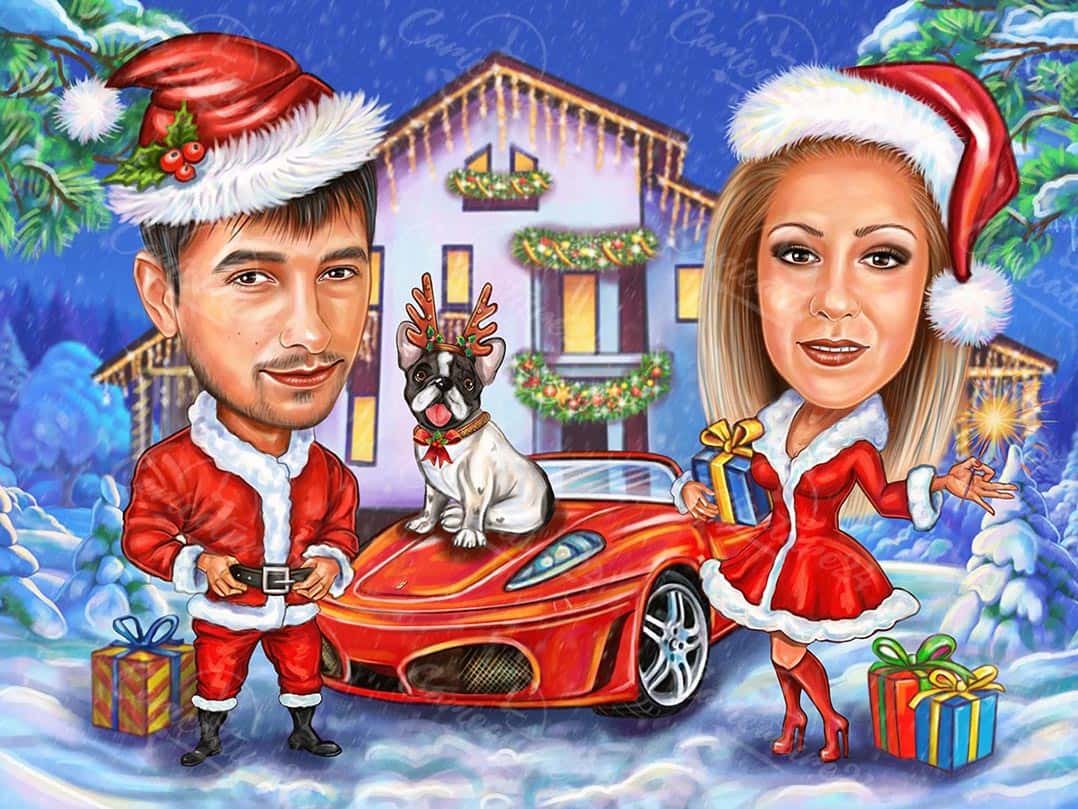Christmas Cartoon Caricature with Car