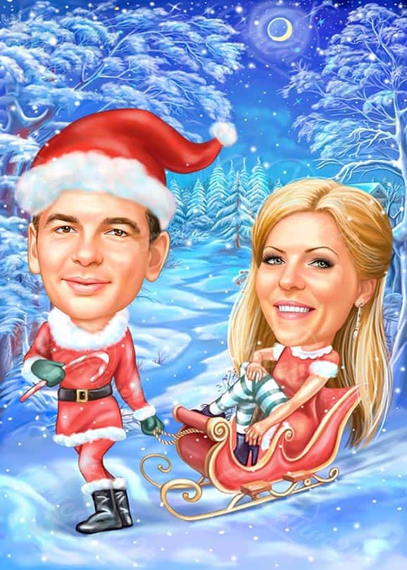 Christmas Eve Caricature for a Couple in Winter