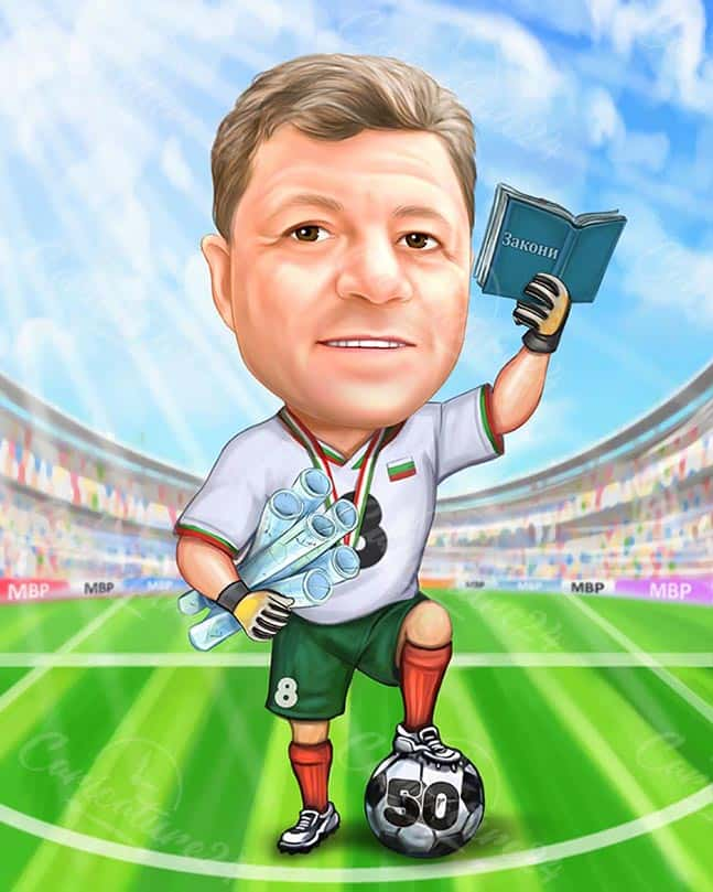 Coach Caricature on the Field