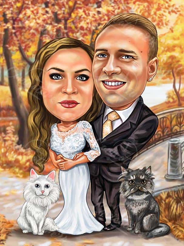 Custom Bride and Groom Caricature with Cats