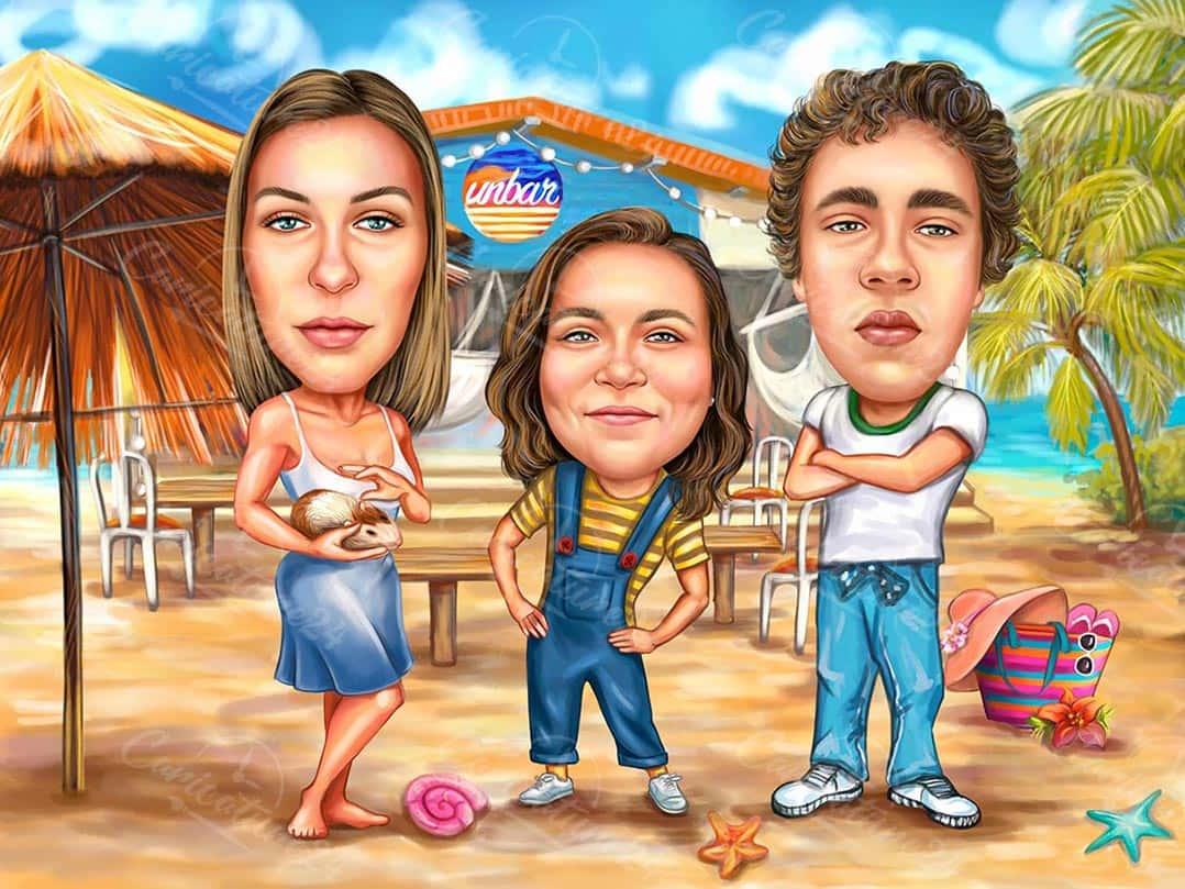 Custom Summer Caricature for Best Friends