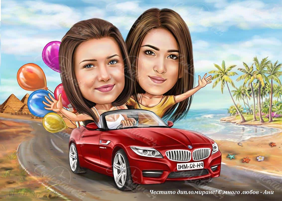 Cute Girls Caricature in a Car with Baloons