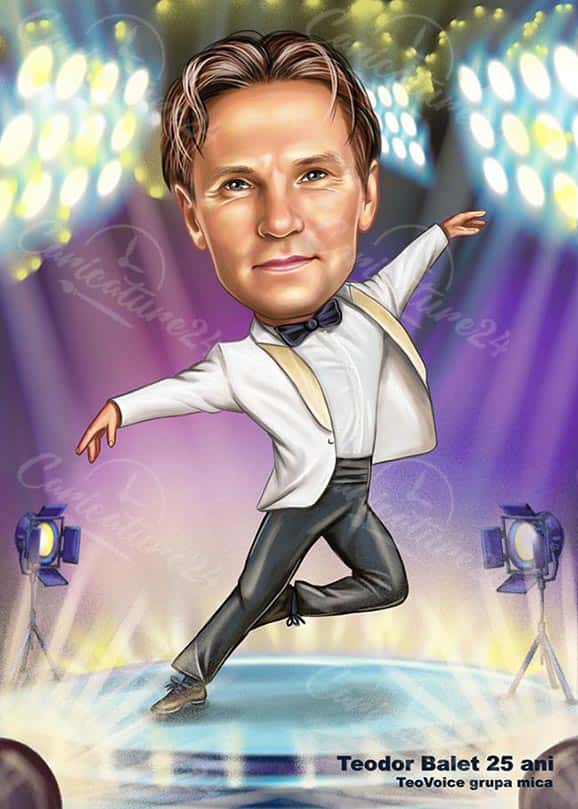 Dancer Caricature with White Suit