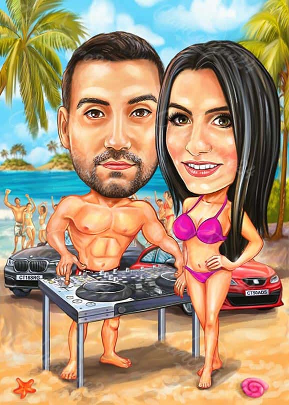 Dj on the Beach Caricature