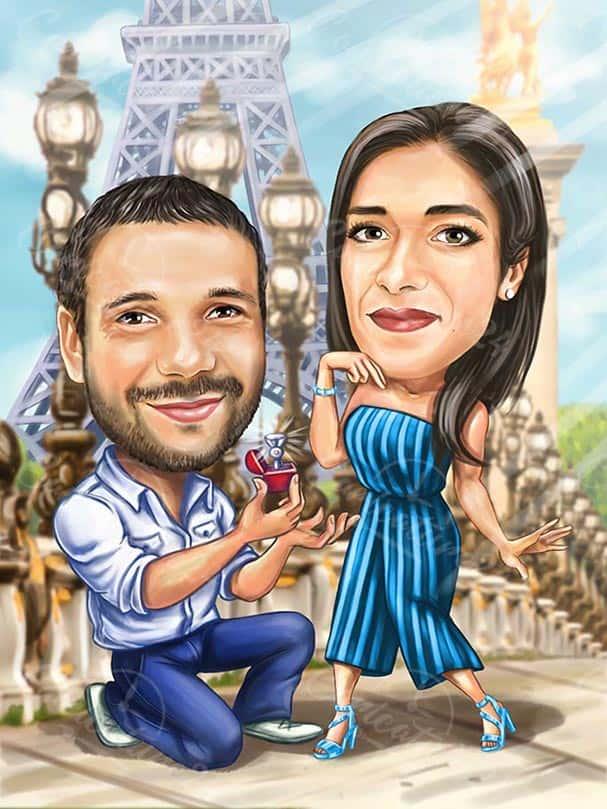 Engagement Proposal Caricature in Paris