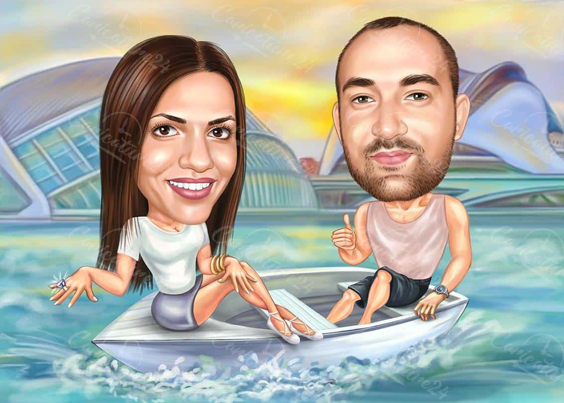 Engagement Proposal Caricature on a Boat