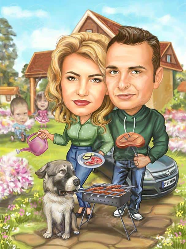 Family Barbeque Caricature