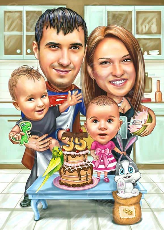 Family Birthday Caricature with Super Dad
