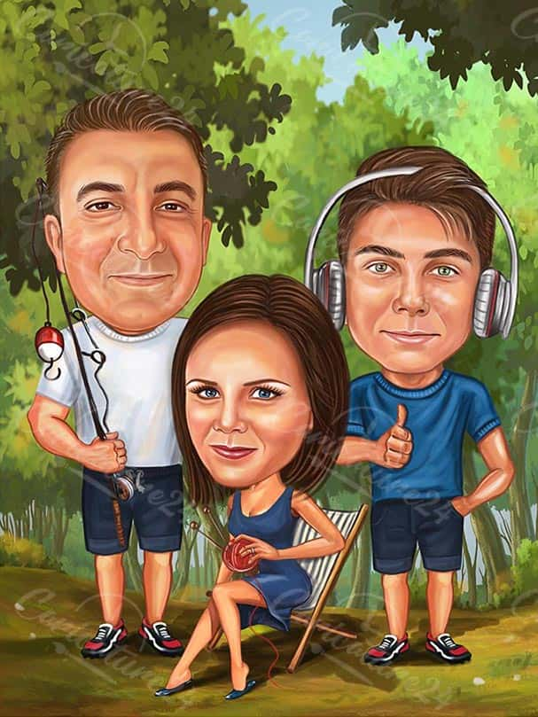 Family Caricature and Teenager with Headphones