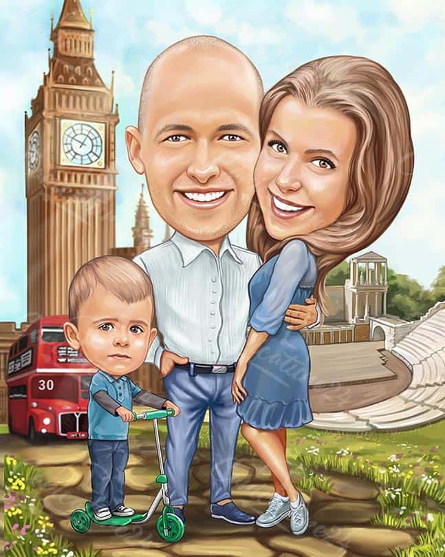 Family Caricature in London