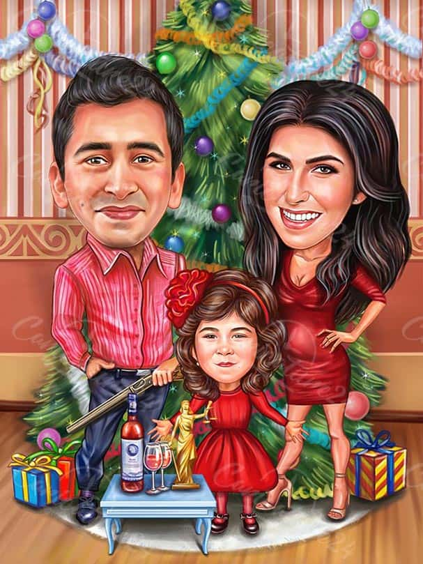 Family Christmas Caricature with Gifts