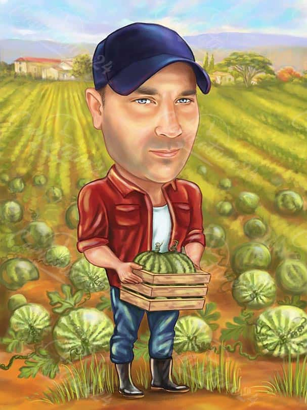 Farmer Caricature with Watermelons