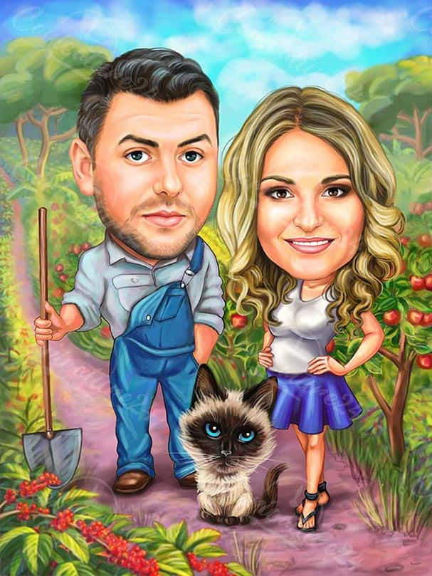 Farmeres with Cat Caricature