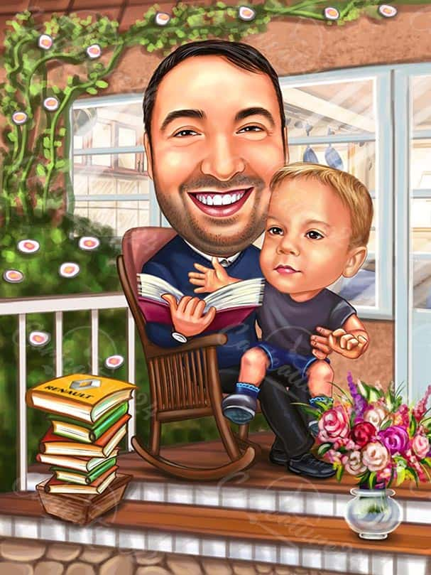 Father and Son Caricature Drawing
