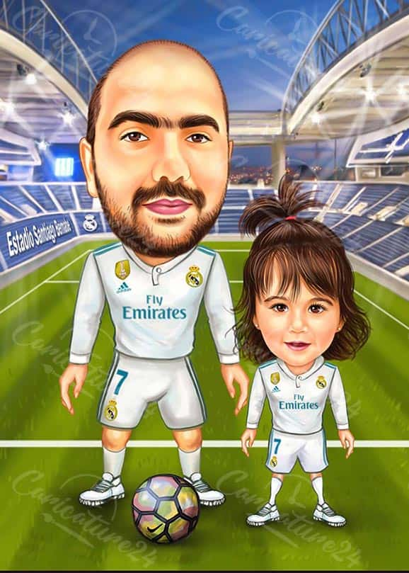 Football Caricature Drawing Father and Daughter