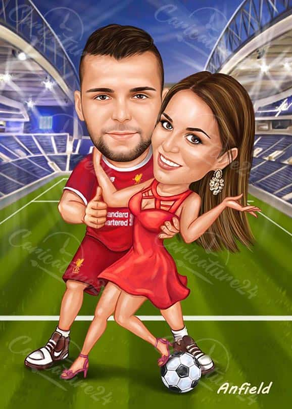 Football Caricature for a Couple