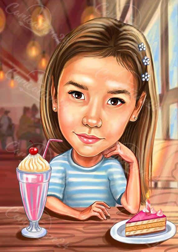 Girl Caricature with Cake