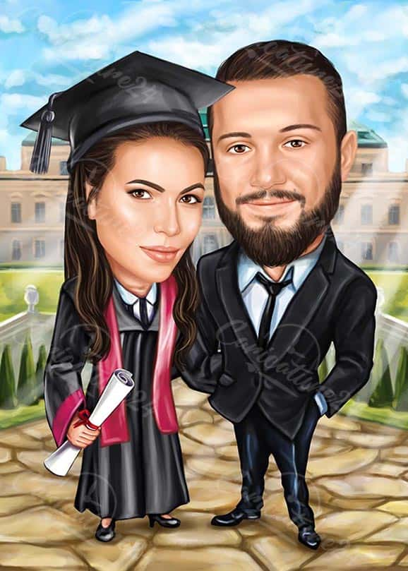 Graduation Caricature Drawing from Photo