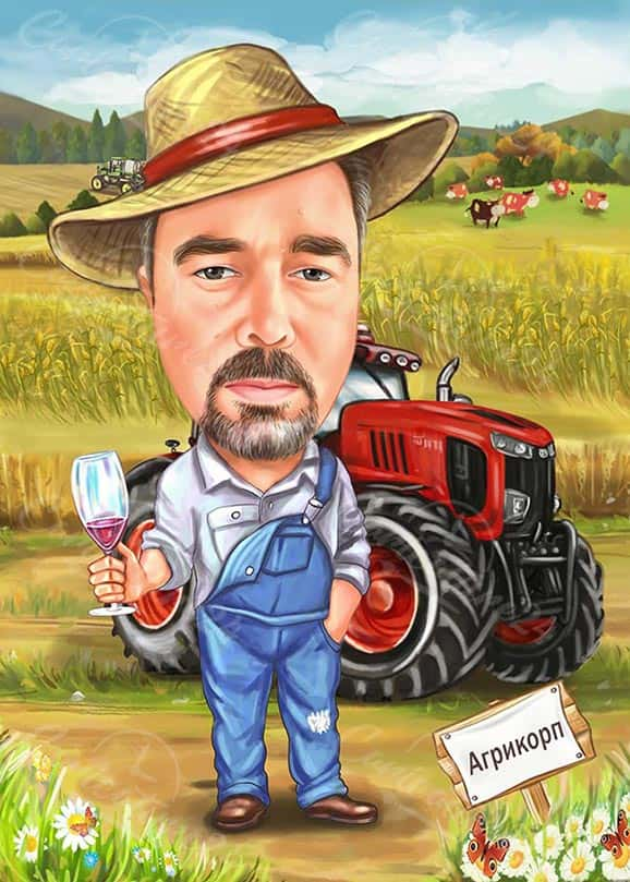 Hand Drawn Caricature Man with Tractor